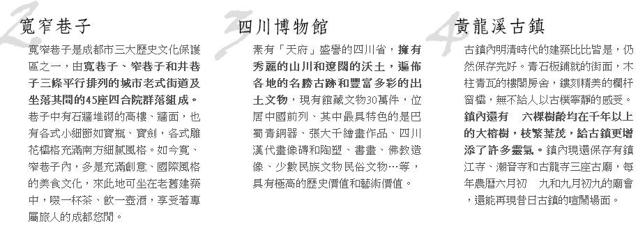 寬窄巷子四川博物館黃龍溪古鎮